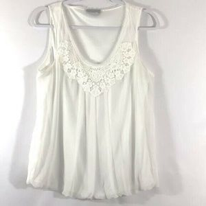 Willi Smith Womens Blouse Top Embroidered V-Neck